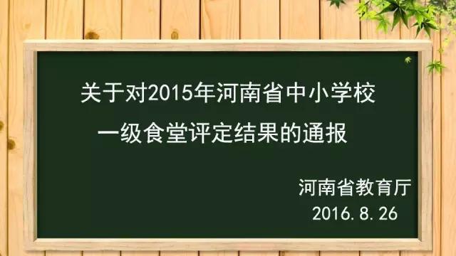 """热烈祝贺我校餐厅被评为""""河南省中小学一级食堂"""""""